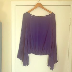 Royal Blue Sheer Bell Sleeve Top Small